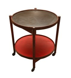 HANS BOLLING COLLAPSIBLE TWO TIER ROLLING CART IN ASH CIRCA 1950    $475