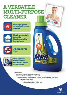 Forever Aloe MPD® – a liquid detergent that is highly effective and economical. Forever Aloe MPD® is a multi-purpose, liquid concentrated detergent.