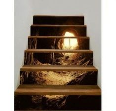 Mountain Cave with Man Print Decorative Stair Stickers Stair Stickers, Wall Stickers, Refinish Stairs, New Staircase, Tapestry Bedding, Wall Paper Phone, Wall Decor Quotes, Basement Stairs, Wall Paint Colors