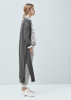 Lange baumwollstrickjacke - Cardigans und pullover für Damen | MANGO