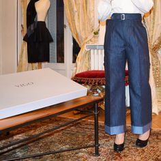 #Bespoke #trousers that are made to look like #jeans but are made of pure #linen.  With over 50 hours of #handmade work, it's not hard to see why they are quick #brand favorite.  #Vigoparis #pants #luxury #artisan #handmade #newyork #paris #french #bespoketailoring #tailroing #fashion #womenswear