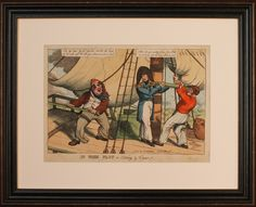 Antique Georgian satirical caricature. Sold by: www.SpencerBros.co.uk. Antiquarian / Georgian / Regency / Napoleonic Wars / sailors / Nelson / pirate / grotesque / mounted / framed / art / gentleman's library / study / country cottage / interior design / era / period / style / design / fashion.