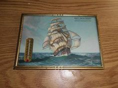 VINTAGE ADVERTISING PICTURE THERMOMETER - MASTED SAILING SHIP SCENE
