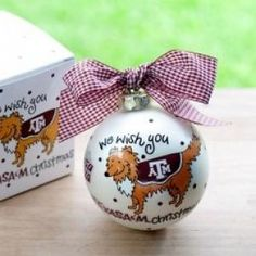 Any fan will love this TX A We Wish Ornament. Personalize it with a name and date for a special holiday keepsake. All collegiate ornaments come boxed and tied with a coordinating ribbon making them the perfect gift for anyone.