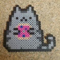 Perler bead Pusheen with donut