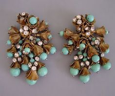 Miriam Haskell-Turquoise earrings.