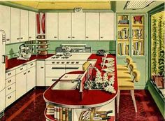 (I have most of this! but need new countertops and love the metal siding)Inspiration kitchen: Plain white cabinets, slide in range, white fridge, red countertop with steel banding, rounded edge, depression green wall/tile. Think the solid red floor is overkill though.