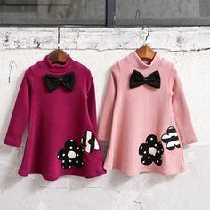 Bebé de la flor vestidos de las muchachas de invierno escuela Linda princesa vestido de los niños ropa infantil niño niños vestido de la muchacha para las niñas ropa(China (Mainland))