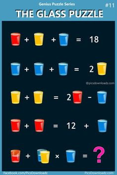 "The Glass Puzzle: Genius Puzzle Series – Viral & Confusing Puzzle. will fail to answer this logical brain teaser math puzzle. ""The Glass Puzzle"" Viral math puzzle with the correct answer! The Red, Blue and Yellow Glasses puzzle. Math Class, Math Skills, Math Lessons, Fun Math Games, Math Activities, Math Quizzes, Whatsapp Fun, Mental Calculation, Math Challenge"