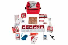 """This compact survival kit is packed neatly into a durable waterproof cooler bag. It is perfect to keep in the office, in classrooms, at home, or in the car. The red cooler bag has the words """"Survival Kit"""" on the front, an adjustable shoulder strap, tie-down cords on top, and a reflector stripe in the back. The food and water in this kit will comfortably provide you with adequate nutrition for 72-hours without access to additional supplies."""