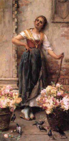 The Flower Seller ~ Stefano Novo ~ (Italian 1862 – 1902)