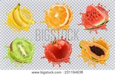 Find Orange Kiwi Fruit Banana Tomato Watermelon stock images in HD and millions of other royalty-free stock photos, illustrations and vectors in the Shutterstock collection. Papaya Juice, Orange Juice, Kiwi And Banana, Fruit Slice, Tomato Juice, Tropical Fruits, Fresh Fruits And Vegetables, Mixed Berries, Vector Icons