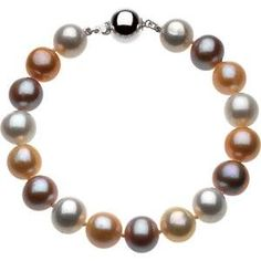 Beautiful modern Freshwater Dyed Multi-Color Cultured Pearl Bracelet.