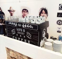 Chalkboard Coffee machine for Peeze Coffee Roasters, drawn in Victorian Typography