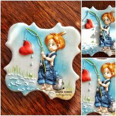The Cookie Lab by Marta Torres Coloured royal icing decorated cookie #fishing #boy #heart #martatorres #martatorrescookies #sugarcookies #sugarart #sugarartist #tridimensionalpiping (Insp. Mo's Digital Pencil stamp bought )