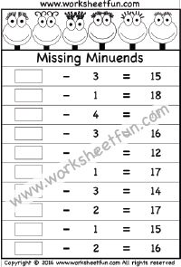 Subtraction – Missing Minuends – One Worksheet
