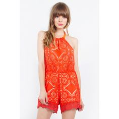 Get summer ready with this crochet halter romper. Crochet Romper, Center Stage, Fashion Sale, Blood Orange, Fitness Models, Rompers, Fancy, Chic, How To Wear