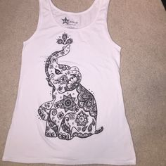 White elephant design tank top Only worn once, comfortable fabric. I'm a size small/medium and it fits good! Tops Tank Tops