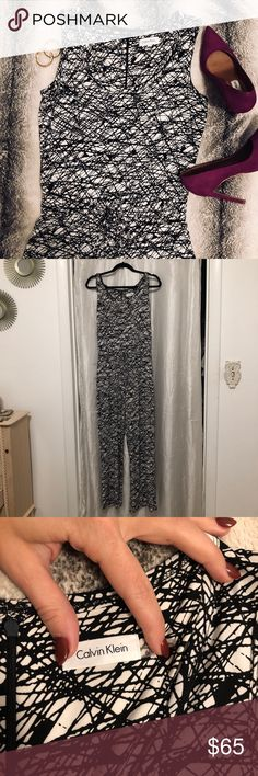 Calvin Klein Jumpsuit Black and white Calvin Klein spandex/polyester blend jumpsuit (very stretchy). Waist has a tie to make tighter or looser. Size 6. Excellent condition, like new. Great for the beach or a night on the town with some sexy heels! Offers welcome:) Calvin Klein Pants Jumpsuits & Rompers