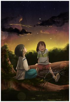 Chihiro and Haku from Studio Ghibli's Spirited Away Hayao Miyazaki, Studio Ghibli Art, Studio Ghibli Movies, Tales From Earthsea, Chihiro Y Haku, The Cat Returns, Castle In The Sky, Film Studio, Howls Moving Castle