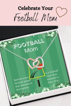 Your special football mom is always on the sidelines cheering you on. Let her know how much you appreciate having her by your side with this beautiful message card necklace. The message card says: behind every football player that believes in themselves, is a football mom that believed in them first. #footballmom #mother'sdaynecklace #footballmomgift #mommessagecard #loveformom #footballlovingmom Message For Mother, Double Heart Necklace, Message Card, Working Moms, Football Players, Mother Gifts, Beautiful Necklaces, Love Her, Law