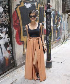 DIY Camel Maxi Skirt and Tassel Belt