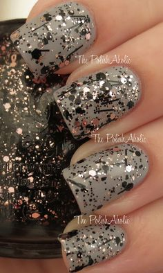 Razzle Me, Dazzle Me - pale pink and black glitter in a clear base