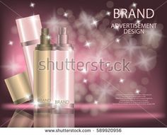 Glamorous facial treatment essence set on the sparkling effects background, elegant ads for design. Mockup 3D Realistic Vector illustration for design, template