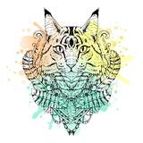 ... white animal Cat head watercolor abstract art tattoo doodle sketch
