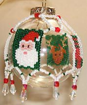 Beaded Christmas Motifs Tree Ornament Cover Pattern - Item Number 11522 at Bead-Patterns.com