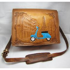 Holiday in Paris - Leather Messenger Bag. $199.00, via Etsy.