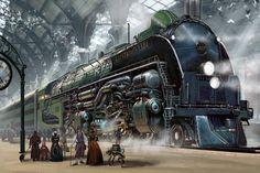 Massive triple-decker locomotive, awaiting its passengers! Illustration by Ben Wootten, http://rossi-publishing.deviantart.com/art/Train-Station-525498812