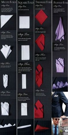 how to fold a hankerchief for a suit pocket squares ~ fold hankerchief pocket squares . how to fold hankerchief pocket squares . how to fold a hankerchief for a suit pocket squares Pocket Square Rules, Men's Pocket Squares, Tie And Pocket Square, How To Fold Hankerchief, Handkerchief Folding, Mens Fashion Wear, Suit Fashion, Mens Fashion Blazer, Pliage Pochette Costume