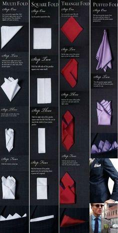 how to fold a hankerchief for a suit pocket squares ~ fold hankerchief pocket squares . how to fold hankerchief pocket squares . how to fold a hankerchief for a suit pocket squares Pocket Square Rules, Men's Pocket Squares, Tie And Pocket Square, How To Fold Hankerchief, Handkerchief Folding, Mens Fashion Wear, Suit Fashion, Pliage Pochette Costume, Cool Tie Knots
