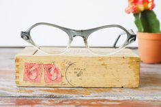 841ccb9a0ea6 Vintage Eyeglass Cat eye glasses 1960's Frame Made In USA By Titmus Optical  Two Tone Frame New Old Stock