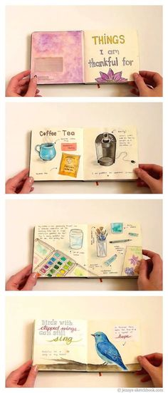 Jenny's Sketchbook: Flip-Through (Gratitude Journal Pages)... click to see more!!!! Wonderful flip though video.