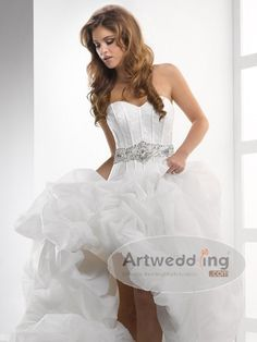 Ruffled Hi Lo Sweetheart Bridal Gown with Beaded Belt