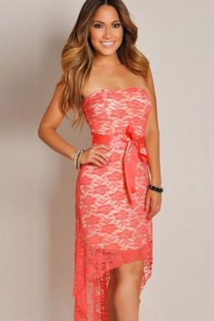 8bbceaa40a1 Dropship Price  US  7.94 Sweet Sexy Coral Lace Strapless High Low Maxi Dress  Sexy