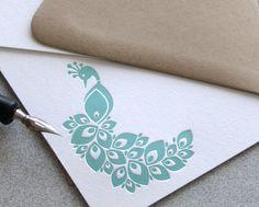 Peacock Note Card Set Letterpress - Bird, Aquamarine Blue, Aqua Blue, Geometric Style - 10 pack (NPE02). $18.00, via Etsy.