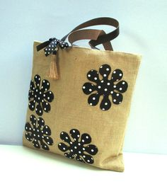 Summer jute bag appliqued with black white dotted by Apopsis