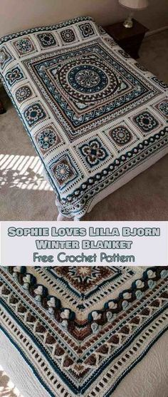 Sophie Loves Lilla Bjorn Winter Blanket [Free Crochet Pattern] (Your Crochet) The Sophie Loves Lilla Bjorn Winter Blanket pattern was created by Emma Aldous. I love this particular color combination, but whatever combination of. Crochet Afghans, Crochet Squares Afghan, Crochet Bedspread, Crochet Motifs, Crochet Mandala, Afghan Crochet Patterns, Crochet Granny, Knitting Patterns, Crochet Blankets