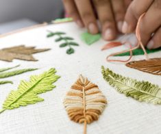Silk Ribbon Embroidery Flowers 10 Hand Embroidery Leaves - 10 Hand Embroidery Leaves: Hand Embroidery for Beginners: 10 Types of Leaves Embroidery Leaf, Hand Embroidery Flowers, Hand Embroidery Tutorial, Types Of Embroidery, Paper Embroidery, Learn Embroidery, Hand Embroidery Stitches, Silk Ribbon Embroidery, Hand Embroidery Designs