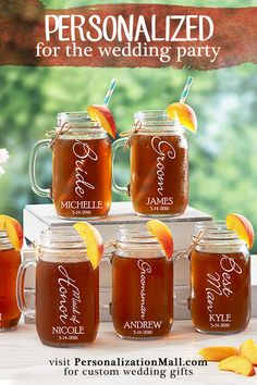 Your wedding day should be all about you, but don't forget to thank the people in your party! Make your special day even more memorable with personalized wedding party gifts like these personalized wedding mason jar glasses. Personalization Mall has everything you need for your wedding day, including accessories, keepsakes, home gifts and more! Visit PersonalizationMall.com to see the selection.
