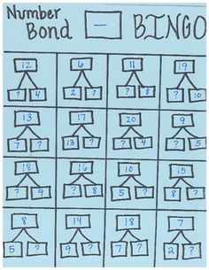 """Singapore Math"" Number Bond subtraction bingo cards!"