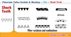 Picture showing the Polynesian shark teeth symbol and its variations.