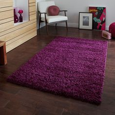 Think Rugs Vista 2236 Shaggy Rug, Purple, 160 x 220 Cm