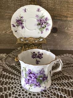 Hammersley Victorian Violets Tea Cup and Saucer Victorian Scroll Design Vintage #Hammersley