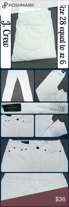 """Sz 28 J. Crew Toothpick Jeans in White So chic and perfectly on trend! Excellent pre worn condition! 83% Cotton, 14% Viscose, 3% Spandex, they have a good amount of stretch.. They are designed to sit at the ankle, They have a soft, brushed feel. Waist 30"""", Inseam 28"""", Rise 9"""" No rips, tears, and definitely NO STAINS :) .... From a smoke-free, dog friendly home, No trades!! (J94) J. Crew Jeans Ankle & Cropped"""