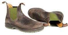 Brown Blundstone Boots 1402 Green and Brown with Two Tone Sole Blundstone