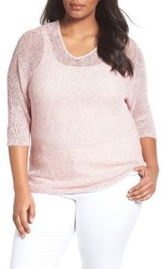 Shop Now - >  https://api.shopstyle.com/action/apiVisitRetailer?id=632777555&pid=uid6996-25233114-59 Plus Size Women's Nic+Zoe Sunkissed Sheer Linen Blend Pullover  ...